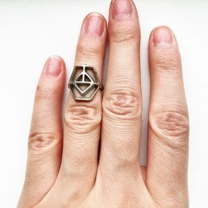 Vintage boho silver geometric cutout knuckle ring